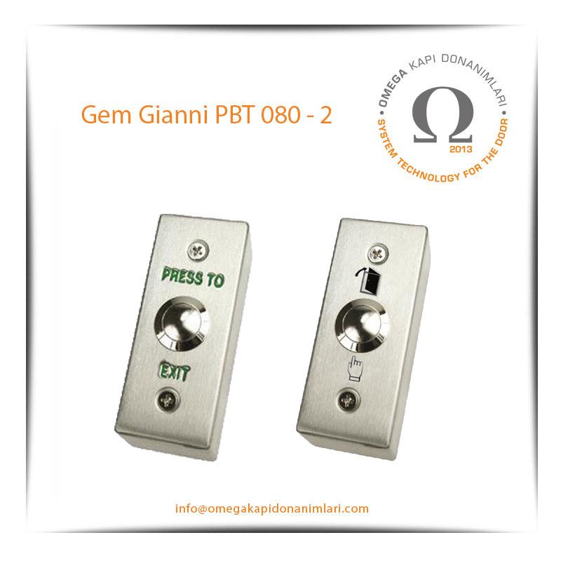 Gem Gianni PBT 080 2 Paslanmaz Çıkış Butonu Yüzey Tip
