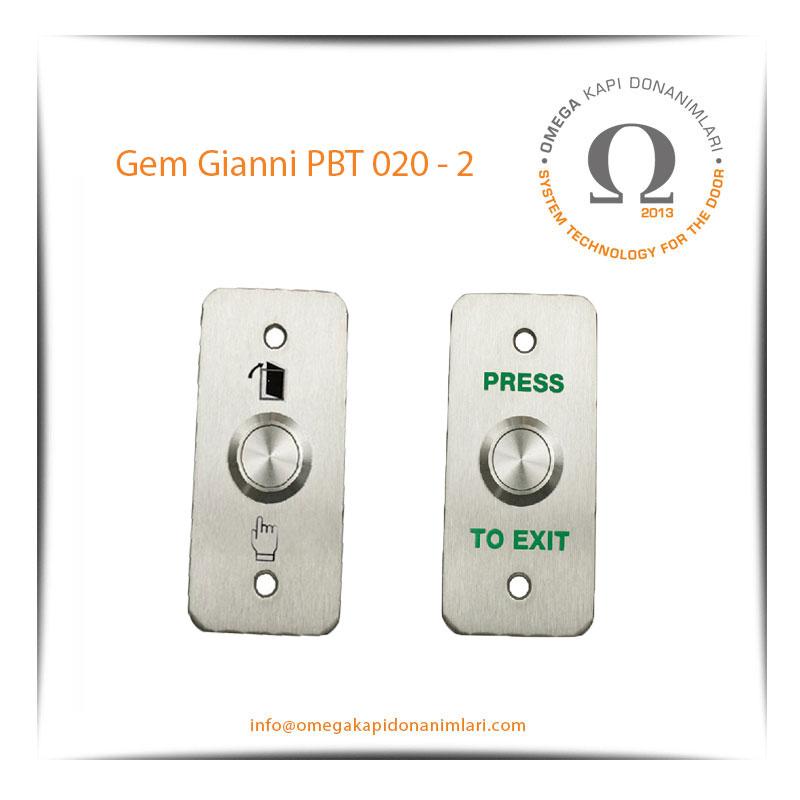 Gem Gianni PBT 020 2 Paslanmaz Çıkış Butonu Gömme Tip
