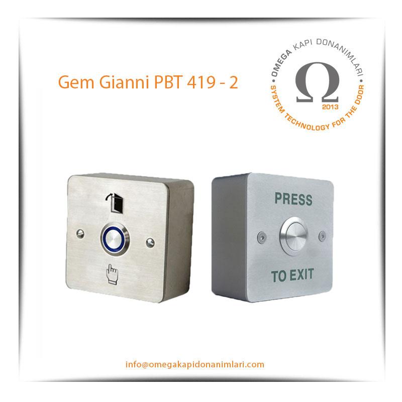 Gem Gianni PBT 419 2 Paslanmaz Çıkış Butonu Yüzey Tip