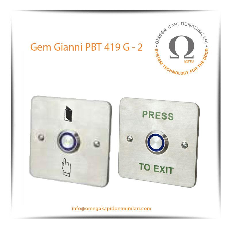Gem Gianni PBT 419 G2 Paslanmaz Çıkış Butonu Gömme Tip